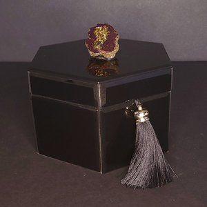 Cynthia Rowley Black Glass Geode Decorative Box